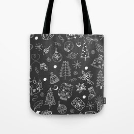 Christmas pattern, white line, gray background. Winter holiday illustration. Tote Bag