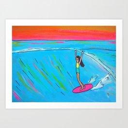 inspirational lady slide rell sunn surf art Art Print