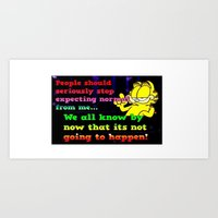 garfield Art Prints featuring Garfield nobody by Butterfly Meadow Gifts
