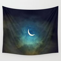 cities Wall Tapestries featuring Solar Eclipse 1 by Aaron Carberry