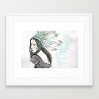 indian Framed Art Prints featuring Indian by Robin Wang
