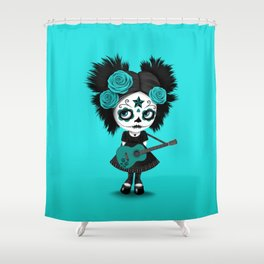 Teal Blue Big Eyes Sugar Skull Girl Playing the Guitar Shower Curtain