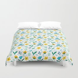 Summer flowers in yellow and blue in white background Duvet Cover