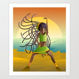 dancehall samba brazilian dancer in the beach Art Print