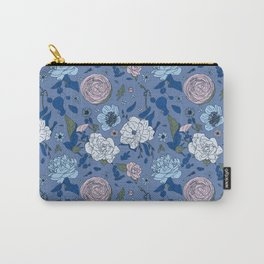 Lovely Seamless Floral Pattern With Subtle Poodles (Hand Drawn) Carry-All Pouch