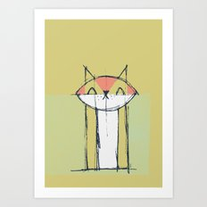 Cubist Cat Study #4 by Friztin Art Print