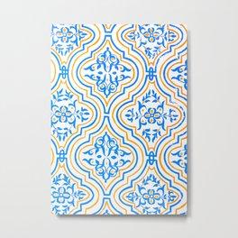 Oriental Pattern - Blue Metal Print