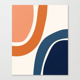 Abstract Shapes 34 in Burnt Orange and Navy Blue Canvas Print