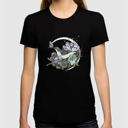 Bird and Butterfly Friendship in Pastel T-shirt
