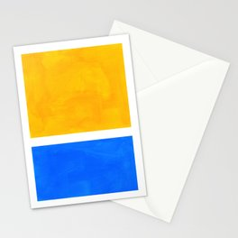 Primary Yellow Cerulean Blue Mid Century Modern Abstract Minimalist Rothko Color Field Squares Stationery Cards