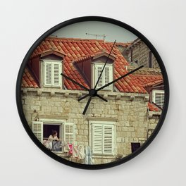 Laundry time in Dubrovnik - Fine Arts Travel Photography Wall Clock