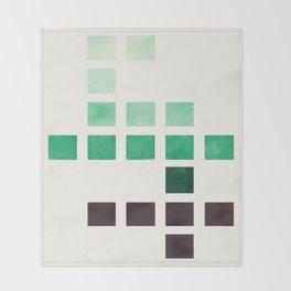 Colorful Teal Turquoise Deep Green Mid Century Modern Minimalist Square Geometric Pattern Throw Blanket