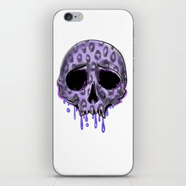 Dripping purple leopard spotted skull iPhone Skin