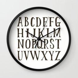 Alphabet A-Z Black and White Wall Clock