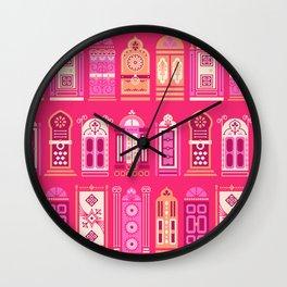Moroccan Doors – Pink Palette Wall Clock