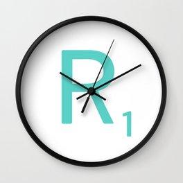 Aqua R Scrabble Letter Art Wall Clock