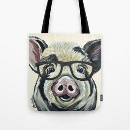 Pig with Glasses, Cute Farm Art Tote Bag