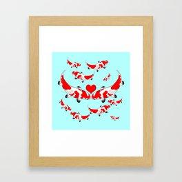 Koi Fish Kisses Framed Art Print