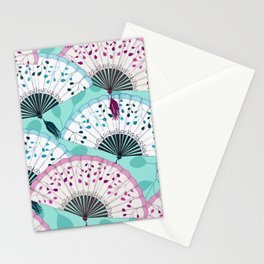 Oriental Hand Fan Pattern Stationery Cards