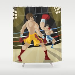 boxer performing an uppercut punch on opponent Shower Curtain