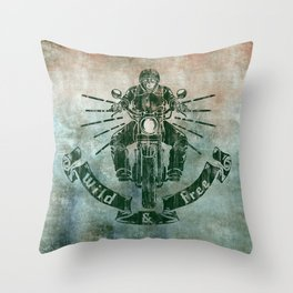 Wild and Free Motorbike Rider Throw Pillow