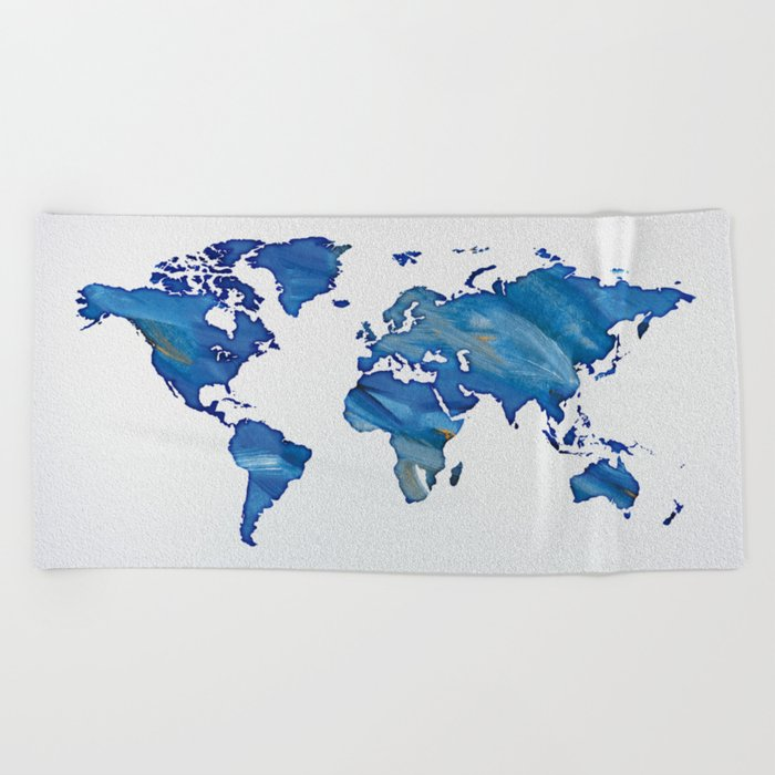 Blue World Map 01 Beach Towel