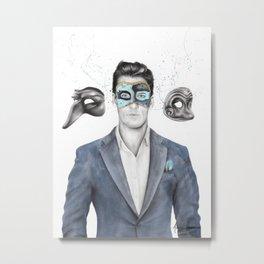 A Man of Many Masks Metal Print