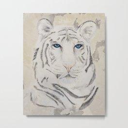 Original Art - White Tiger Original Painting (highly textured)  #white Metal Print