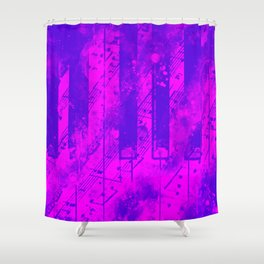 piano keys and music sheet pattern wslp Shower Curtain