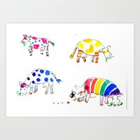 cows Art Prints featuring Cows by Hattie Hyder