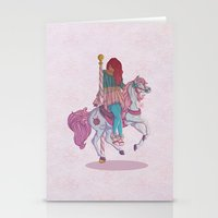 carousel Stationery Cards featuring Carousel by Leigh Wortley