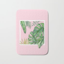 Green on Pink Bath Mat