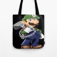 luigi Tote Bags featuring Luigi by Halohappy