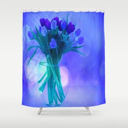 A Blue Bloom for Spring Shower Curtain