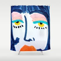 mod Shower Curtains featuring Mod Girl by Bouffants and Broken Hearts