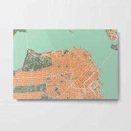 San Francisco city map orange Metal Print