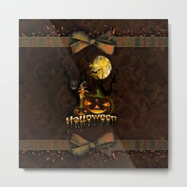 Halloween, funny pumpkin with owl Metal Print