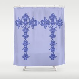 'Blue Faith' -  Cross of lace in blue Shower Curtain