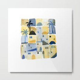 Morning Middle Eastern Town Watercolor Metal Print