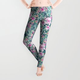 LUSH OLEANDER Tropical Watercolor Floral Leggings