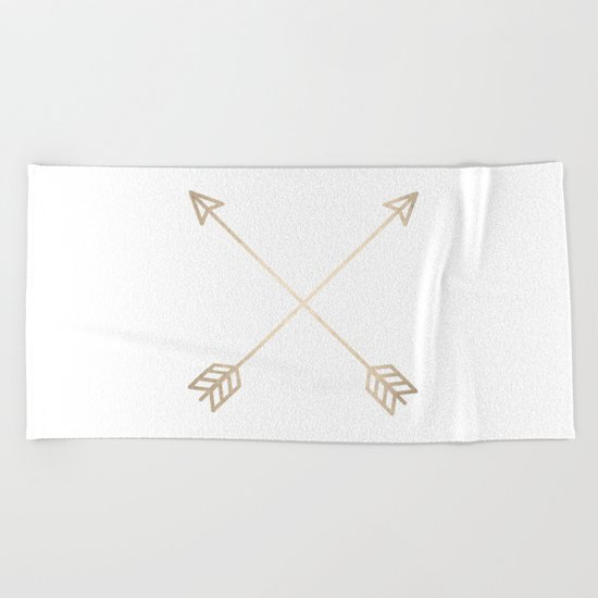 Adventure White Gold Arrows Beach Towel