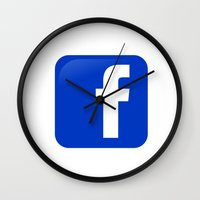 facebook Wall Clocks featuring FACEBOOK  by I Love Decor