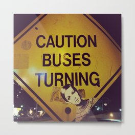 Twiggy (the model) on a yellow caution sign Metal Print