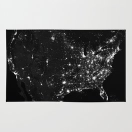 The Lights of the USA (Black and White) Rug