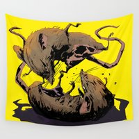 fight Wall Tapestries featuring rat fight by antoniopiedade