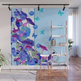 BLUE BUTTERFLIES & PURPLE MORNING GLORIES Wall Mural