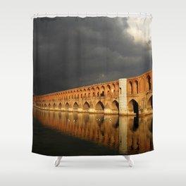 World Popular Ancient Stone Bridge God Ray Sun Beam Cloudy Day Ultra HD Shower Curtain