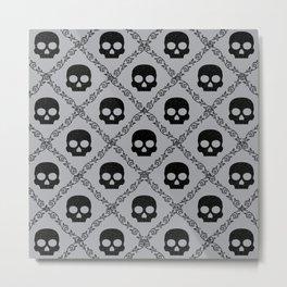 Skulls & Flowers - Silver Metal Print