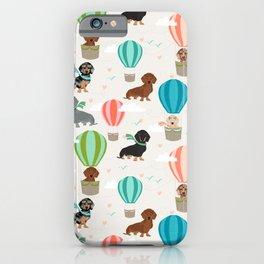 Dachshund hot air balloon dog cute design fabric doxie pillow decor phone case iPhone Case