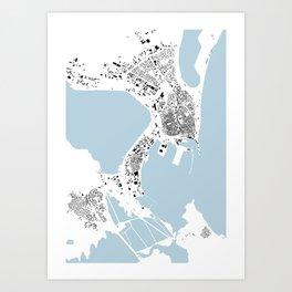 Burgas Graphic Map Art Print